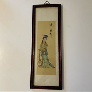 Chinese woman hand painted wall hanging